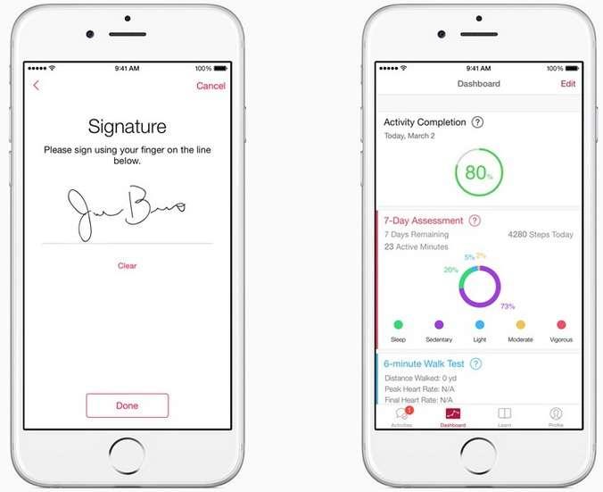 Apple investit le secteur de la recherche médicale avec sa plateforme open source ResearchKit grâce à laquelle les chercheurs et les médecins peuvent créer des applications destinées à mener des études scientifiques. © Apple