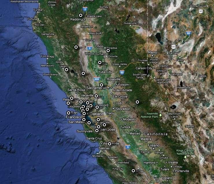 Carte de déploiement du réseau Bay Area Regional Deformation composé de 48 récepteurs GPS qui couvrent le nord de la Californie. Sa vocation est de surveiller les mouvements de la plaque Pacifique nord et de la baie de San Francisco, afin d'évaluer les risques de séismes. © University of California Berkeley Seismological Lab/Google Maps