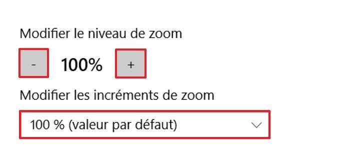 Modifiez le niveau de zoom ainsi que la valeur d'incrémentation du zoom. © Microsoft