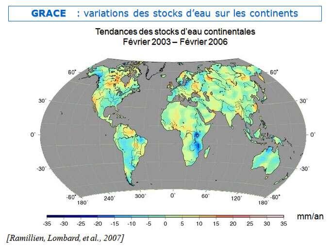 Évaluation par Grace des variations des masses d'eaux continentales (exprimées en millimètres) entre février 2003 et février 2006. © DR