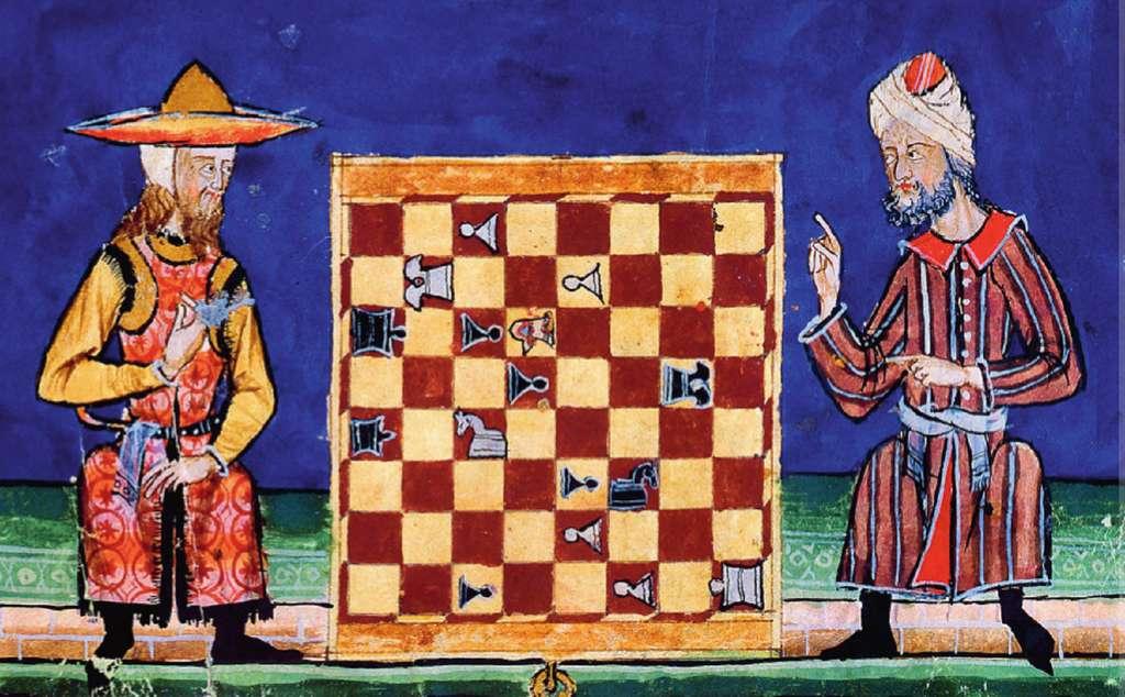 """Un juif et un musulman jouant aux échecs, dans """"El Libro de los Juegos"""" (le livre des jeux), ouvrage offert à Alphonse X de Castille en 1282. Bibliothèque de l'Escurial. © Wikimedia Commons, domaine public."""