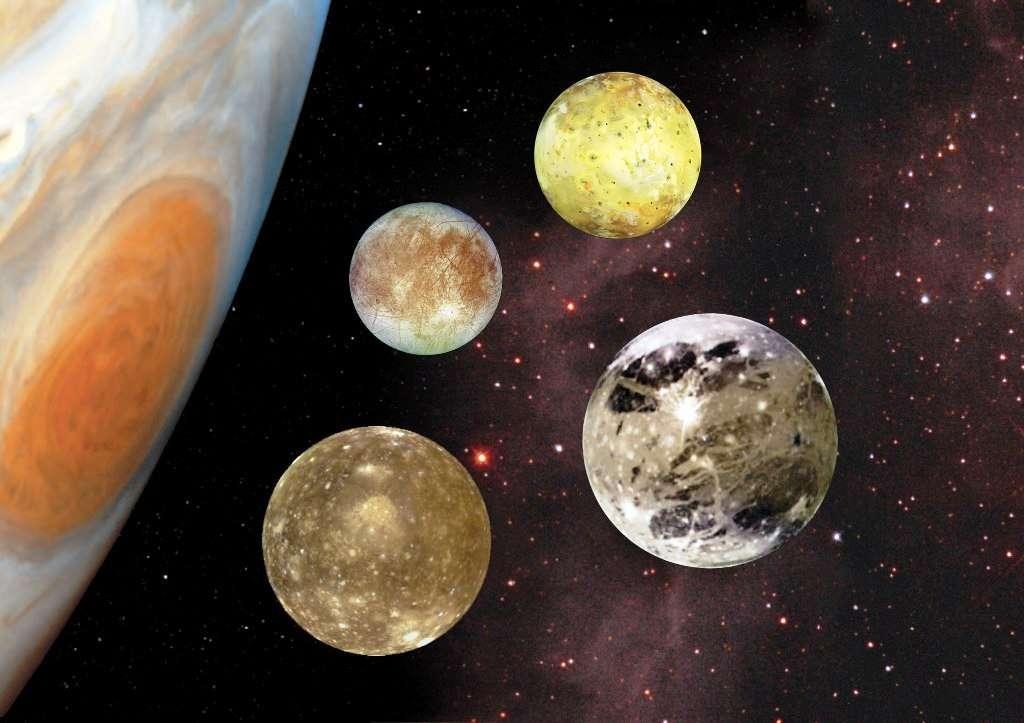 De bas en haut, Io, Europe, Ganymède et Callisto, les lunes de Jupiter. Des cousines doivent exister dans d'autres systèmes planétaires mais elles ne semblent guère plus propices à la vie qu'Europe (dans le meilleur des cas). © Nasa