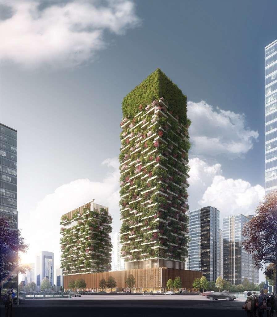 Vue d'artiste des deux tours porteuses d'une « forêt verticale », en cours de construction à Nanjing, en Chine. © Stefano Boeri Architetti