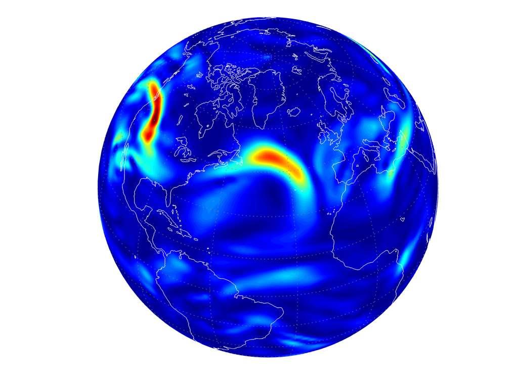 Les zones rouges indiquent les zones géographiques où les vols transatlantiques subiront, à 12.000 m d'altitude, d'importantes turbulences en 2050. D'ici là, la concentration atmosphérique en CO2 sera deux fois plus importante que durant l'ère préindustrielle. © Paul Williams, Université de Reading