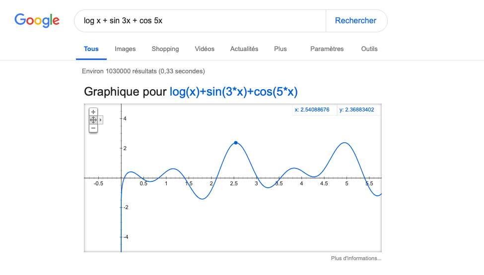 Des calculs simples grâce au moteur de recherche Google.