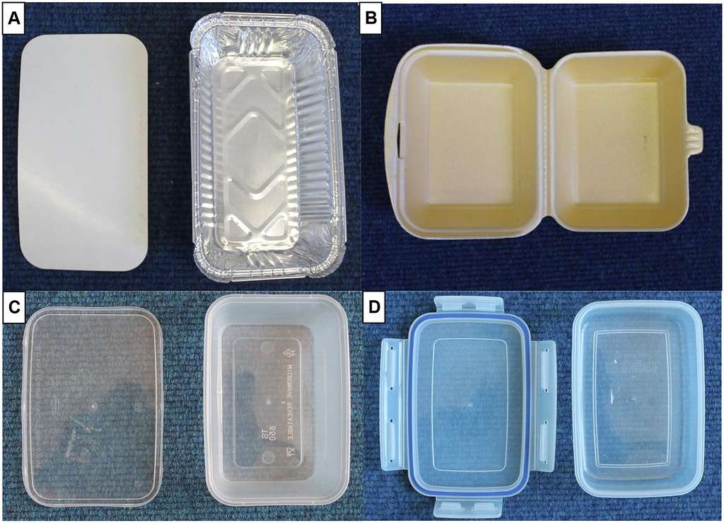 Les différents types de récipients étudiés : aluminium (A), polystyrène extrudé – Styrofoam (B), polypropylène (C), polypropylène réutilisable – Tupperware (D). © Alejandro Gallego-Schmid et al, Journal of Cleaner Production, 2018