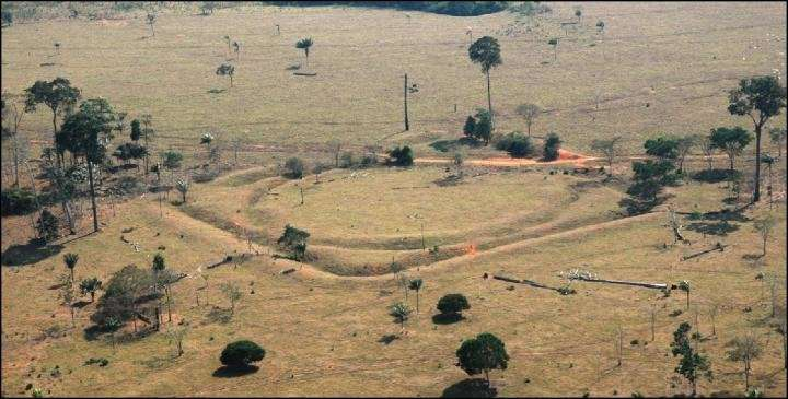 Une vue aérienne d'un géoglyphe sur le site de Jacó Sá, au Brésil. © University of Exeter