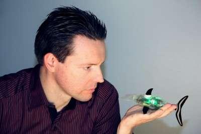 Christophe Tarby devant sa créature, le robot nageur Jessiko. La société RobotSwim le décline de plusieurs manières, par exemple pour égayer les piscines ou pour servir de plateforme expérimentale à des scientifiques. © RobotSwim