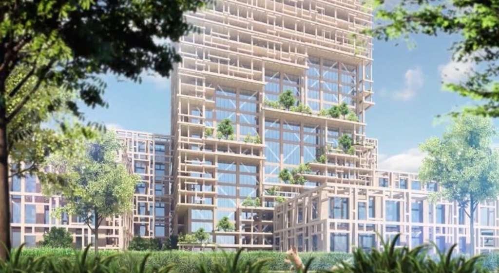 Le bâtiment comportera 90 % de bois. © Sumitomo Forestry