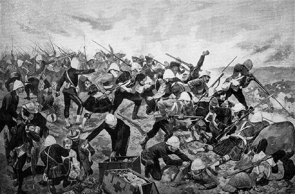 Bataille de Majuba, première guerre des Boers, en 1881 ; soldats britanniques défendant Majuba Hill. © Wikimedia Commons, domaine public.