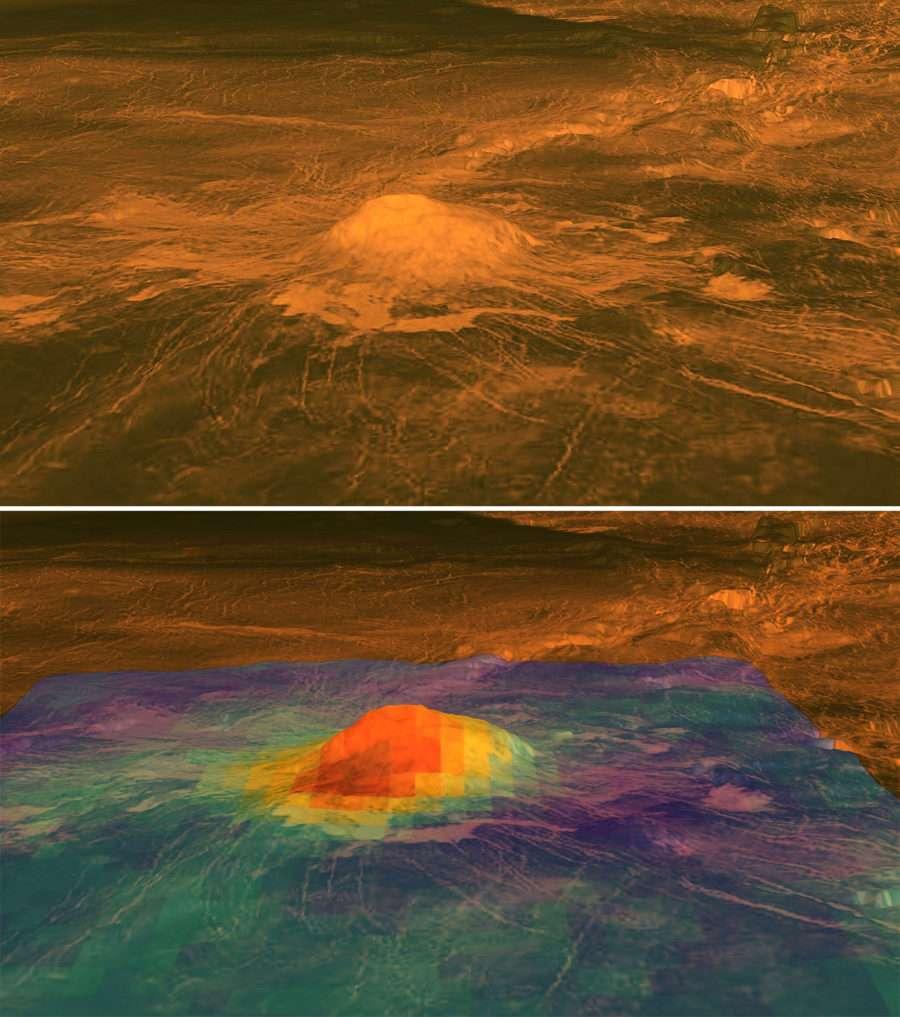 En haut : cartographie radar de Idunn Mons par Magellan. En bas : superposition des mesures de l'excès de chaleur par Venus Express en 2007. L'altitude de 2,5 km a été exagérée par rapport à la plaine environnante qui s'étend sur 200 km environ. Les couleurs, reliées au flux de chaleur, indiquent un changement de composition au sommet du volcan. © Nasa-ESA