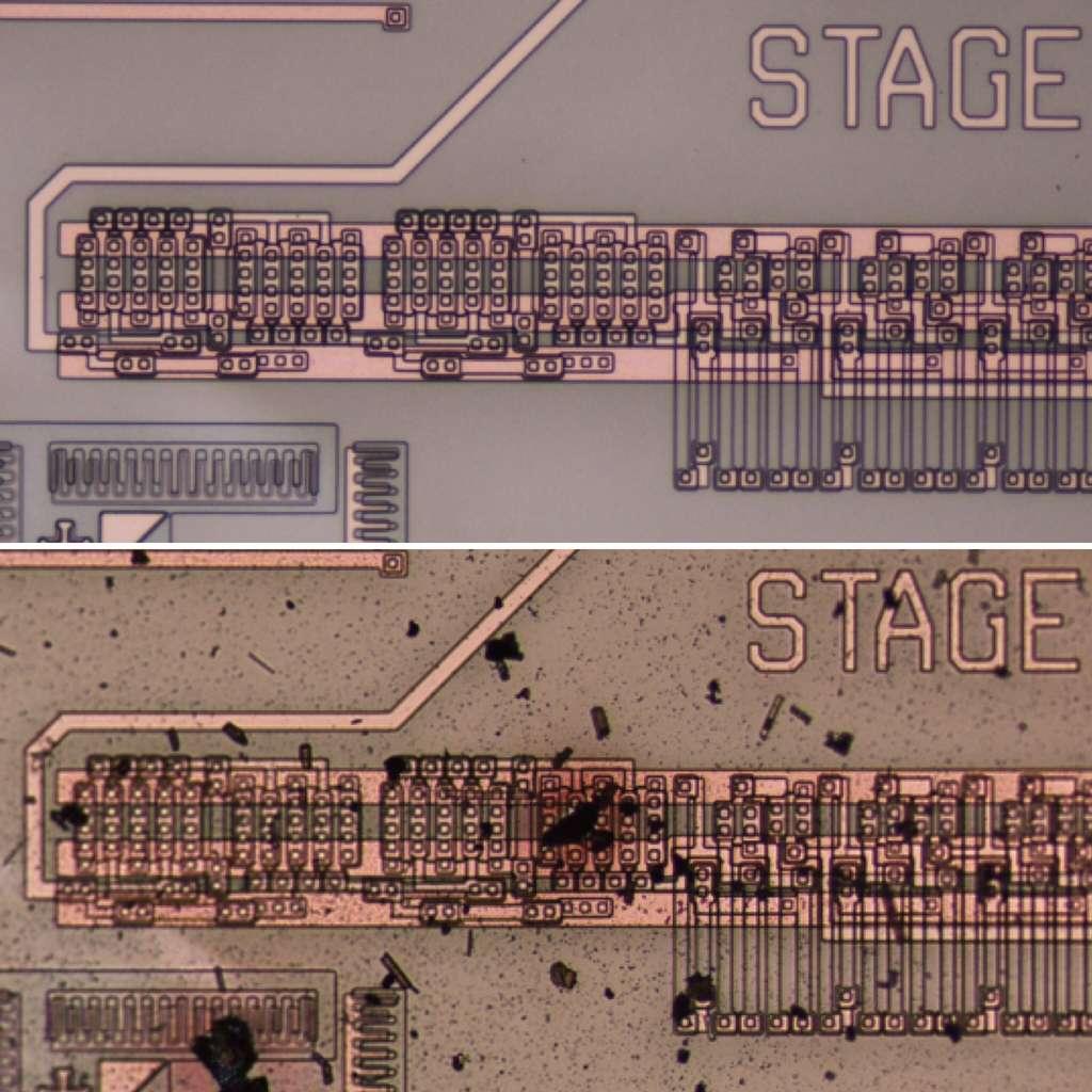 En haut, le circuit intégré à base de carbure de silicium avant son départ dans le simulateur. En bas, son aspect après presque 3 semaines passées dans un environnement ressemblant à celui de Vénus. © Nasa