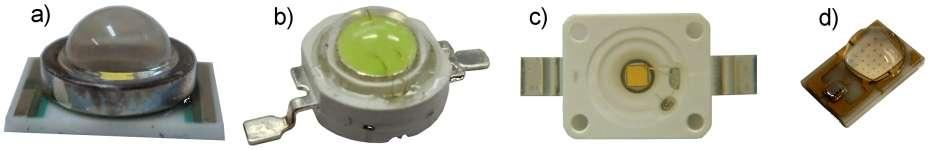 Types de lentilles primaires : verre (a), résine dure préformée (b et c) et silicone (d). © Led Engineering Development