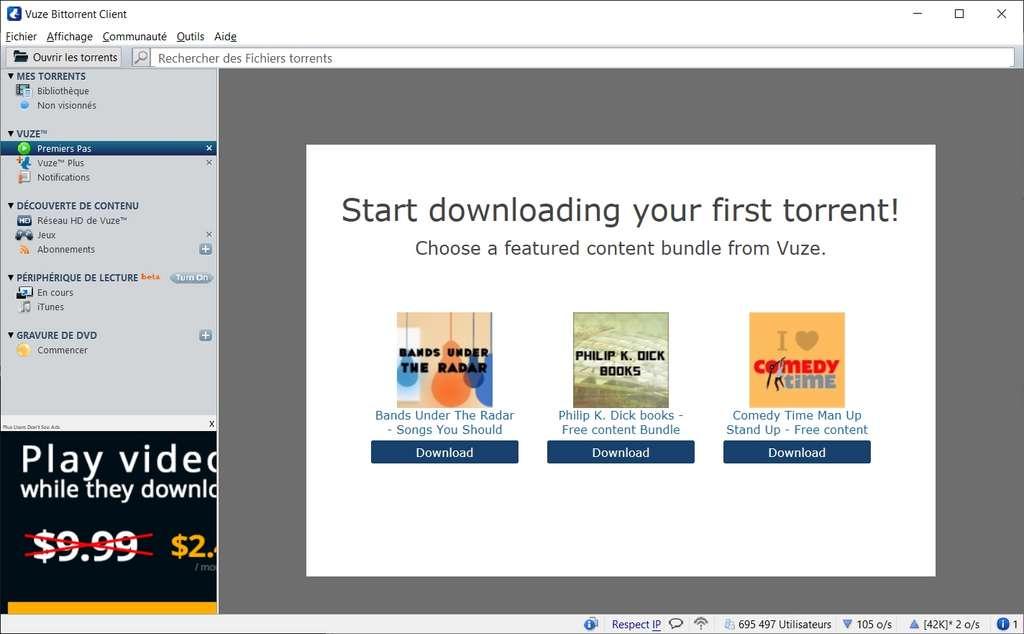 L'interface de Vuze est radicalement différente des autres clients BitTorrent. Un assistant assiste les nouveaux utilisateurs pour réaliser leur premier téléchargement. © Azureus Software Inc.