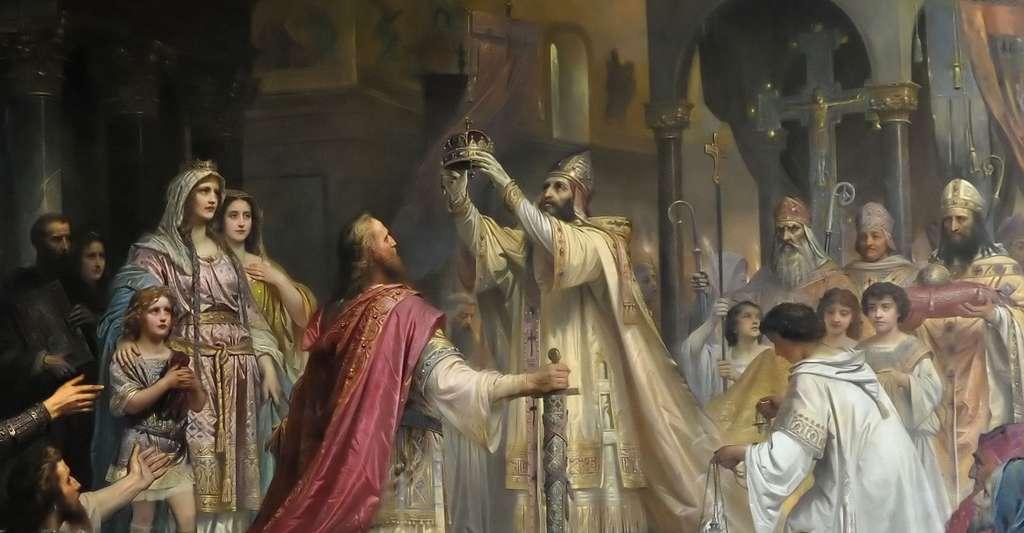 Le 25 décembre de l'an 800, à la basilique Saint-Pierre de Rome, Charlemagne est couronné empereur d'Occident par le pape Léon III. © Friedrich Kaulbach, Wikimedia Commons, DP