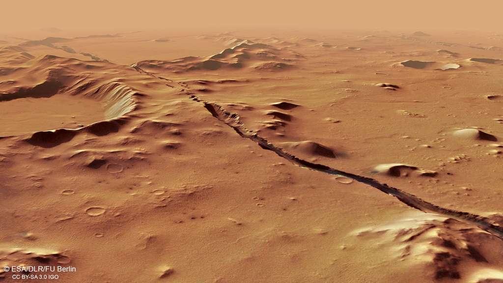 Vue en perspective d'une faille dans la région de Cerberus Fossae photographiée par la sonde Mars Express. © ESA, DLR, FU Berlin, CC by-sa 3.0 IGO