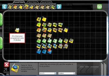 Dans le cas des robots de l'entreprise Pob Tech, la programmation se fait à base d'icônes, à l'aide du logiciel Risbee. © Pob Tech