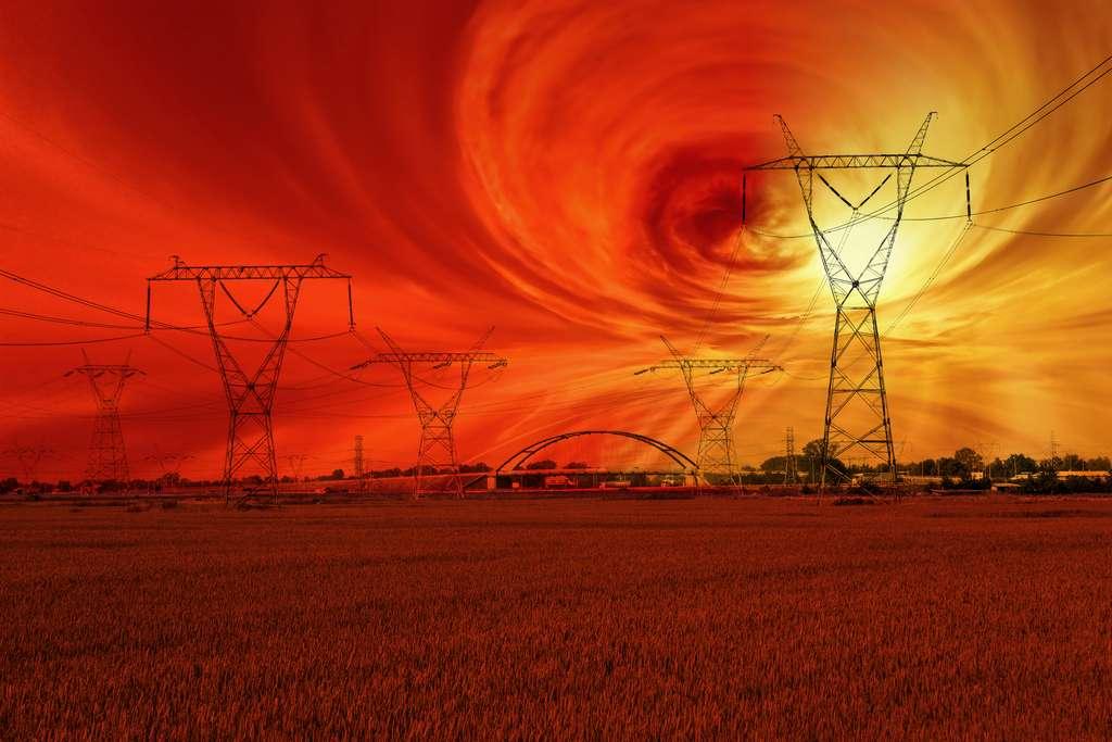 Illustration d'un orage magnétique sur Terre. © Nightman1965, Adobe Stock