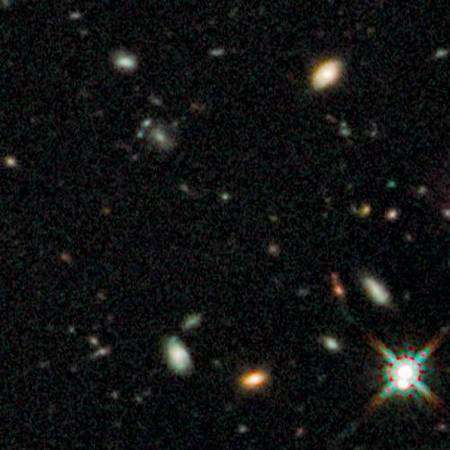 Cliquer pour agrandir. Un zoom sur une partie du HUDF où ont été réalisées les images des plus anciennes galaxies connues (voir la dernière image en fin d'article). Crédit : Nasa-Esa