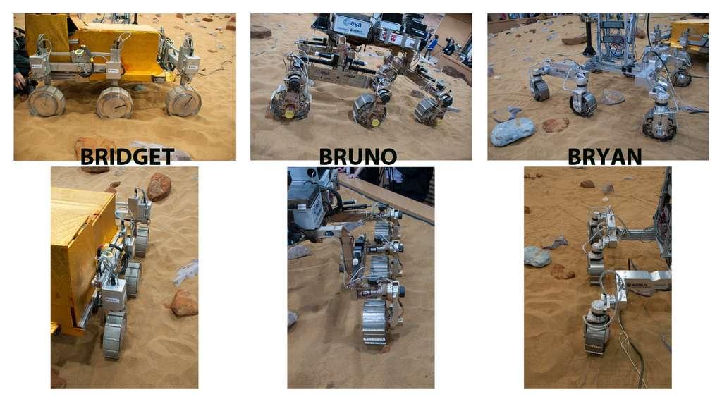 Gros plan sur les systèmes de locomotion des trois concepts de rover martien d'Airbus Espace. © Rémy Decourt