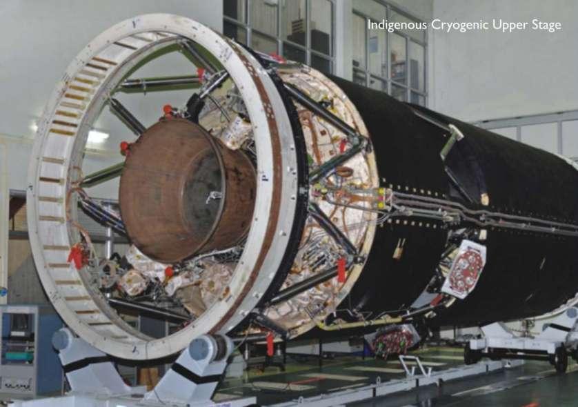 L'étage cryogénique CUS, réalisé par l'agence spatiale indienne, vu côté tuyère. © Isro