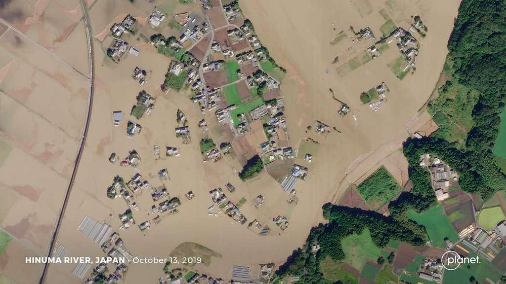 Hagibis, le plus grand typhon qui a frappé le Japon en octobre 2019. © 2019 Planet Labs, Inc.
