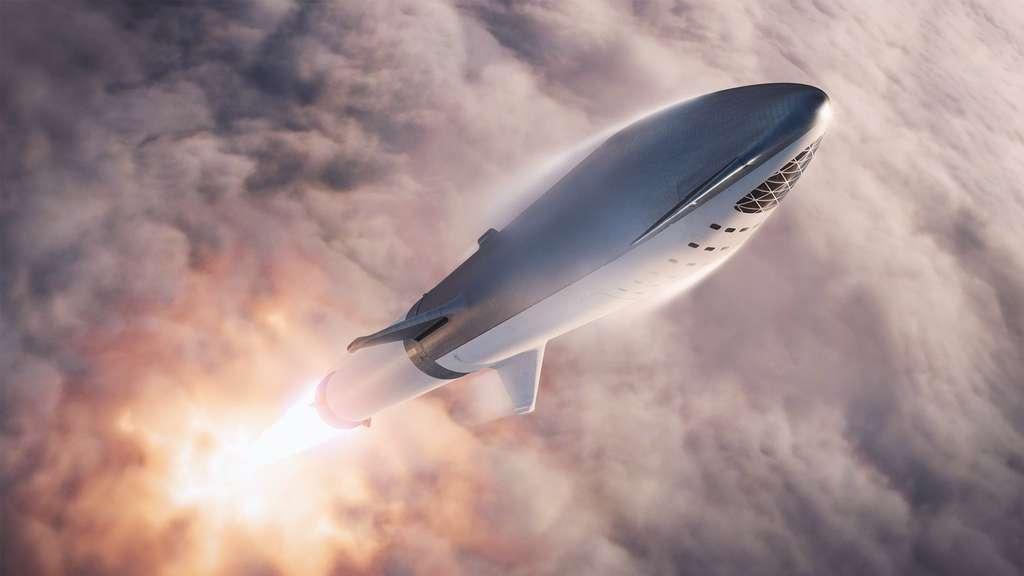 Illustration du Big Falcon Rocket (BFR) dans sa dernière version (septembre 2018). Par rapport à la précédente, quelques modifications sont visibles. © SpaceX