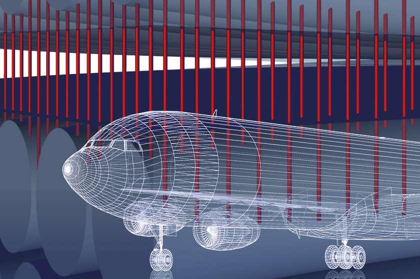 Des ingénieurs du MIT ont trouvé un moyen — grâce à des nanotubes de carbone, ici représentés en rouge — pour lier fortement entre elles les couches de matériaux composites. Résultat : il devient plus résistant aux impacts. De quoi concevoir des avions plus légers encore sans pour autant perdre en solidité. © Christine Daniloff, MIT