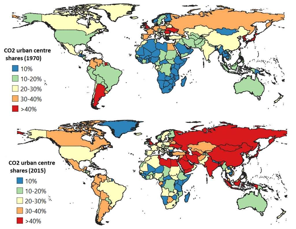 Ici, l'évolution des émissions de CO2 des centres urbains dans le monde entre 1970 et 2015. © Crippa et al., Environmental Research Letters