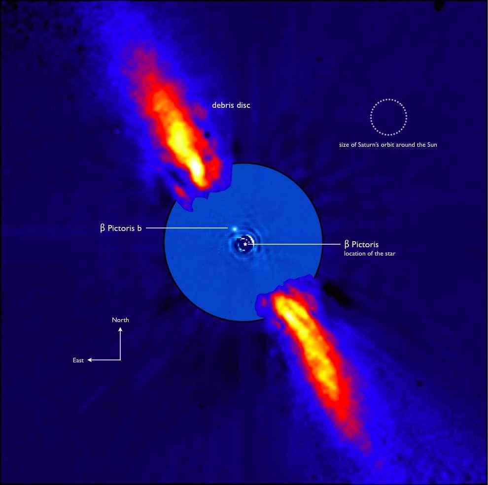 On voit sur cette photo composite, prise dans l'infrarouge proche, le système de Bêta Pictoris. Le disque de débris est bien visible ainsi que l'exoplanète Bêta Pictoris b. En haut à droite se trouve la comparaison avec la taille de l'orbite de Saturne. © ESO/A-M. Lagrange et al.