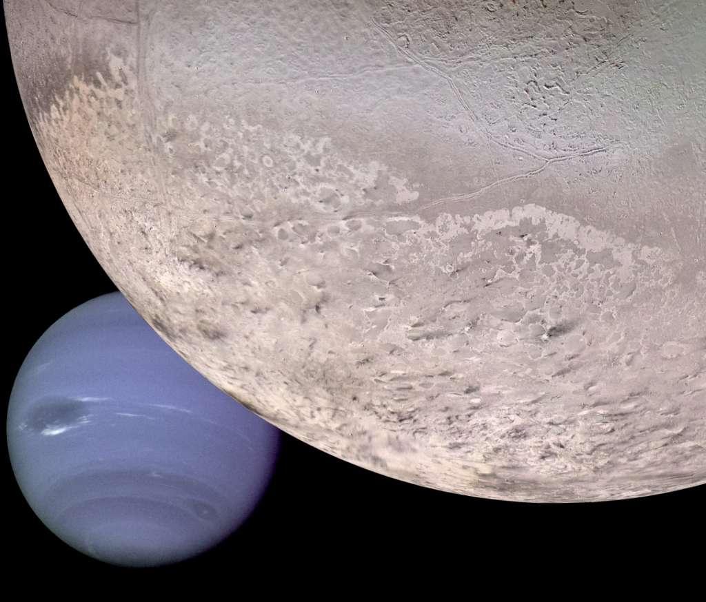 Ce montage montre comment Triton et Neptune apparaîtrait à un vaisseau spatial s'approchant d'eux sous un certain angle. La surface de Triton est essentiellement couverte de la glace d'eau et d'azote gelé, avec des traces de méthane, de dioxyde et de monoxyde de carbone condensés. © Nasa