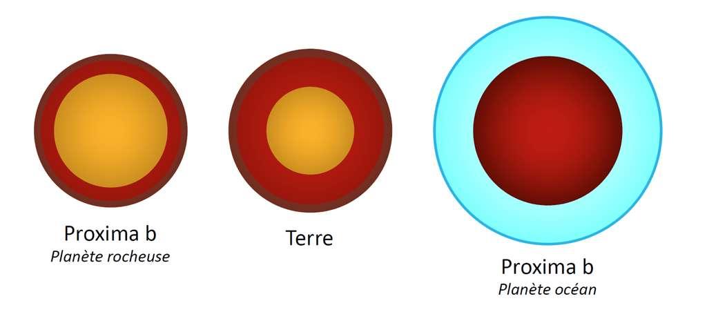 Comparaison des deux cas extrêmes obtenus pour Proxima b avec la Terre. Ce schéma montre la structure interne de chaque planète. De gauche à droite : Proxima b avec le plus petit rayon atteignable (65 % de noyau métallique, entouré d'un manteau rocheux séparé en deux phases), la Terre (idem avec 32,5 % de noyau), et Proxima b avec le plus grand rayon autorisé (50 % de manteau rocheux entouré d'une couche d'eau sous forme solide puis liquide). © CNRS