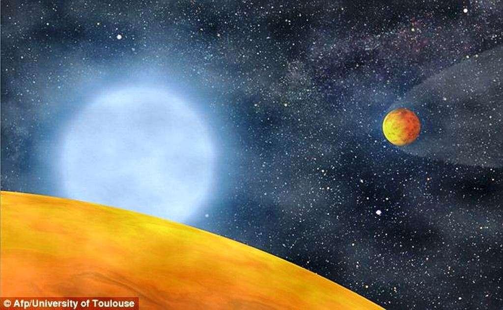 Une vue d'artiste des planètes chthoniennes autour de KIC 05807616. Baptisées KOI 55.01 et KOI 55.02 elles sont situées dans le voisinage des constellations du Cygne et de la Lyre, à environ 3.900 années-lumière de la Terre. © Stéphane Charpinet
