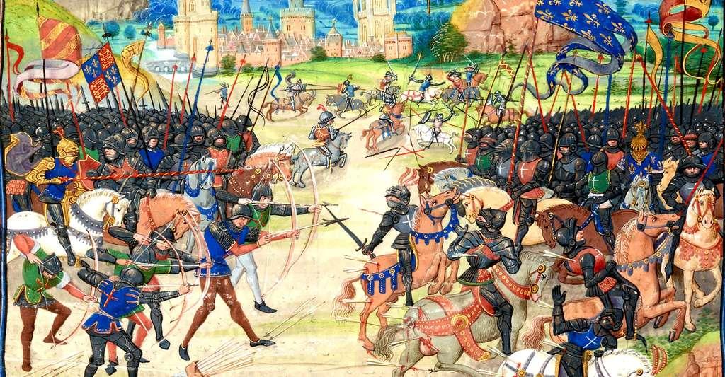 La guerre de Cent Ans prend fin en 1453. Ici, représentation nous plongeant au cœur de la guerre, un siècle avant la fin des combats, en 1356, lors de la bataille de Poitiers, à Nouaillé-Maupertuis (chroniques de Froissart, manuscrits de Gruuthuse). © Bibliothèque Nationale de France, DP