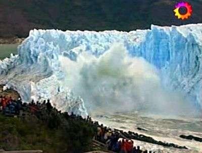 Effondrement du Perito Moreno, image 2. Capture télévision argentine