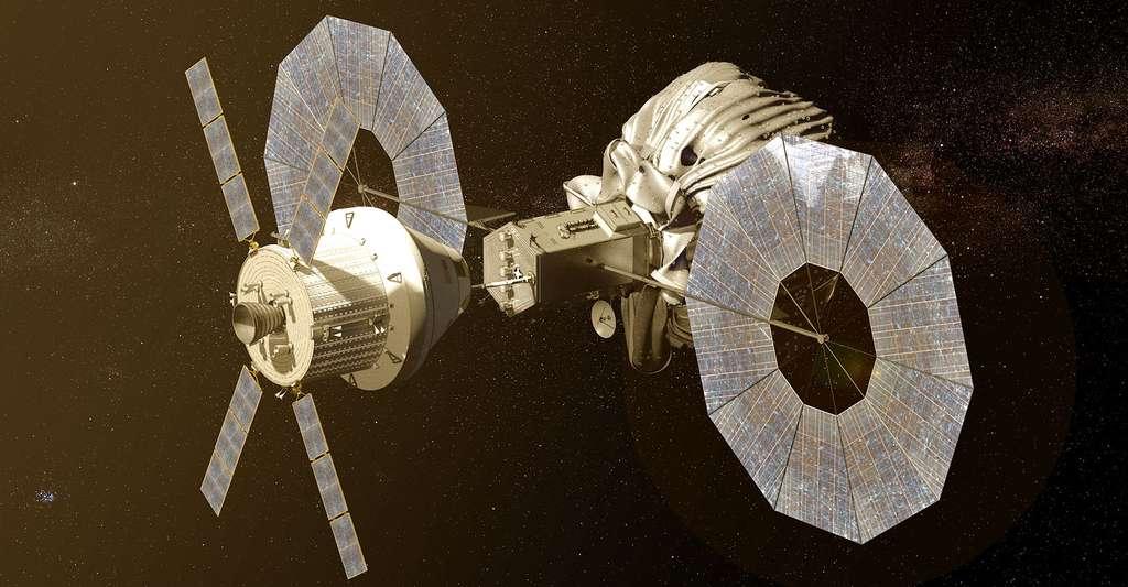 Cette image conceptuelle montre le vaisseau spatial Orion de la NASA approcher le véhicule de capture astéroïde robotique. © NASA - Domaine public