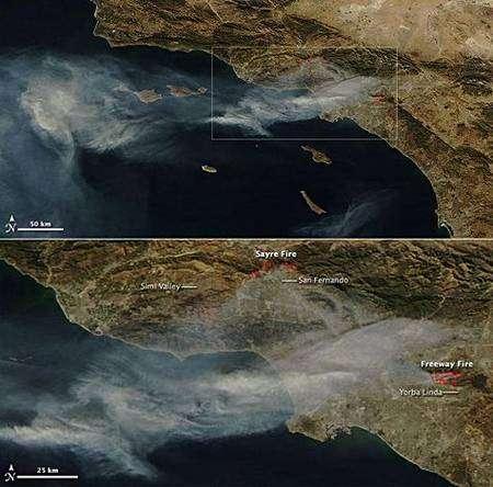 Image du satellite et vue détaillée. Cliquer pour agrandir. Crédit Nasa/Modis