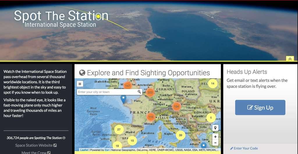 Capture d'écran du site internet Spot the station lancé par la Nasa pour traquer la Station spatiale. © Nasa