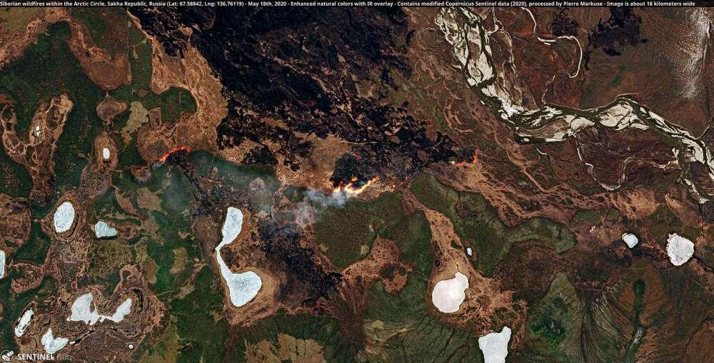 En Sibérie, soit dans le cercle arctique, un des Copernicus Sentinel a immortalisé la reprise d'incendies le 18 mai 2020. © Copernicus Sentinel (2020), traitée par Pierre Markuse, CC by 2.0