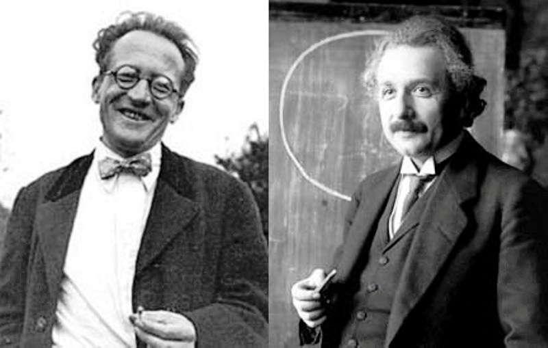 Erwin Schrödinger et Albert Einstein partageaient bien des choses en commun, comme un intérêt pour la philosophie et une insatisfaction devant l'interprétation orthodoxe de la mécanique quantique. Ils ont travaillé sur des thèmes identiques en relativité générale, de la cosmologie à une théorie unifiée de la gravitation et du champ électromagnétique. © DP