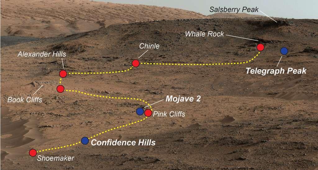 Les différents points examinés par Curiosity sur l'affleurement rocheux de Pahrump Hills. Les pois bleus marquent les endroits où le rover a procédé à un forage. © Nasa, JPL-Caltech, MSS