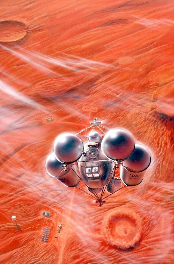 Vue d'artiste d'un engin spatial habité en phase finale d'atterrissage sur Mars. © Pat Rawlings, Nasa, SAIC, 1995