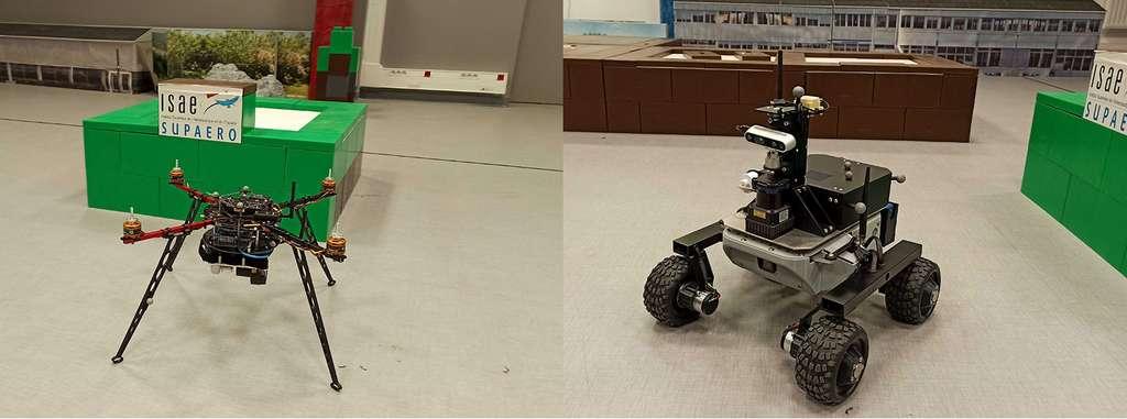 Au SaCLaB de l'Isae-Supaéro, les étudiants développent le projet Collaborative Rover and Drone (CoRoDro) qui vise à coordonner le travail des deux véhicules d'exploration et ce, en totale autonomie. © Space Innovation