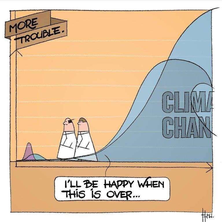 La crise climatique qui nous attend va faire plus de dégâts que la pandémie à SARS-CoV-2. © statisticallycartoon