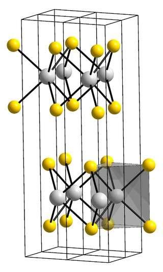 La structure cristalline du disulfure de molybdène. En jaune, les ions S2- et en gris, les ions Mo4+. © W. J. Schutte, J. L. De Boer et F. Jellinek