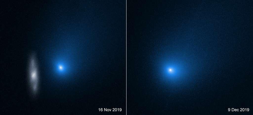 Les augmentations de luminosité observées par les chercheurs de l'université de Cracovie (Pologne) avaient été annoncées comme les signes d'une prochaine désintégration de la comète interstellaire Borisov. Ici, deux photos de l'objet prises en fin d'année dernière par le télescope spatial Hubble. © Nasa, ESA, D. Jewitt (UCLA)