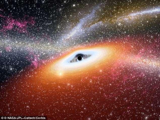 Illustration d'artiste d'un trou noir supermassif et de son disque d'accrétion. L'un des plus massifs connu (21 milliards de masses solaires) est tapi au centre de la galaxie supergéante NGC 4889. © Nasa, JPL-Caltech, Corbis