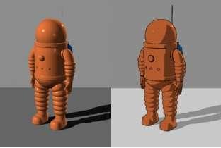 Un modèle en 3D de la combinaison spatiale de Tintin vue dans la bande dessinée On a marché sur la Lune (1954), avec à gauche un éclairage classique effet plastique et à droite un ombrage celluloïd, ou cel-shading, effet cartoon. © en:User:T-tus, Wikimedia Commons, CC by 2.0