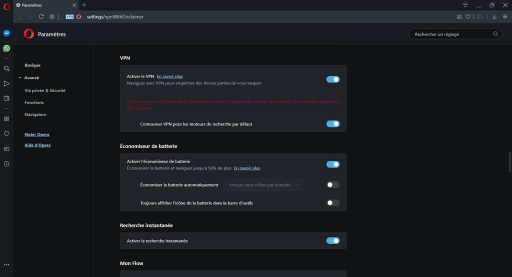 Dans les paramètres d'Opera, on active le VPN. Le contournement pour les moteurs de recherche peut désactiver provisoirement le VPN pour obtenir des résultats basés sur votre position géographique réelle. © Opera Software