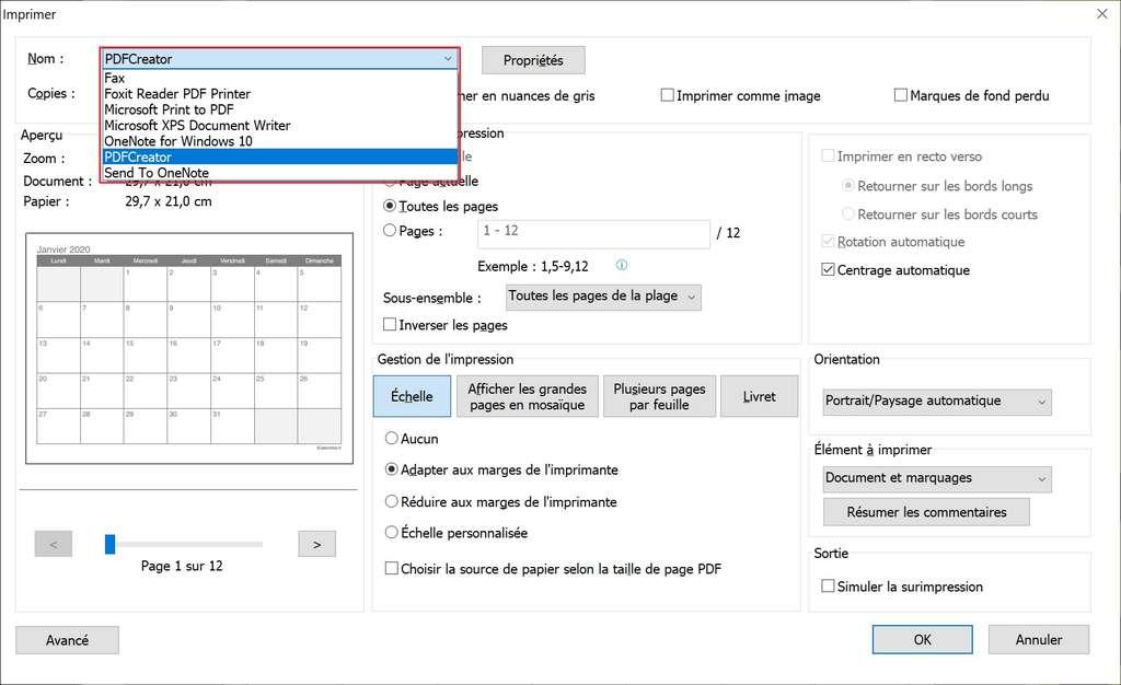 Choix de l'imprimante virtuelle PDFCreator © Foxit Software Incorporated.
